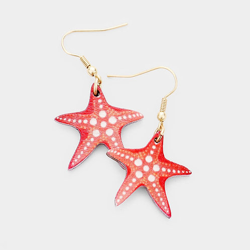 Wood Starfish Earrings