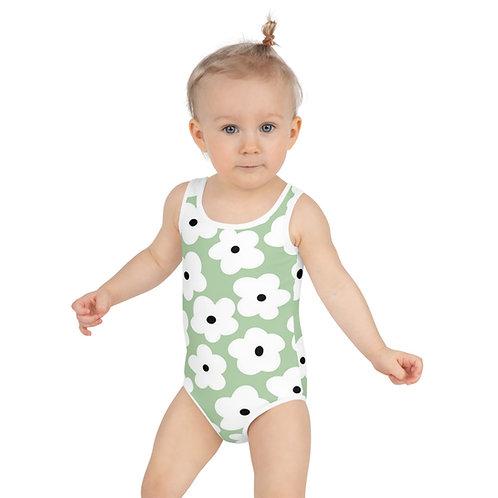 White Poppy Floral Kids Swimsuit