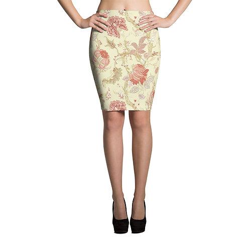 Vintage Floral Pencil Skirt