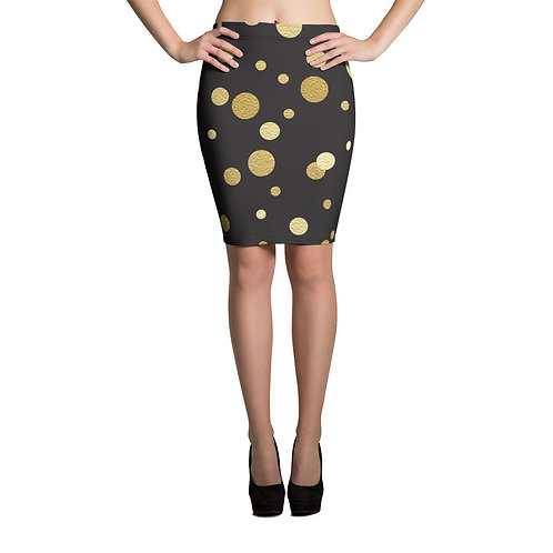 Gold Polka Dot and Black Pencil Skirt