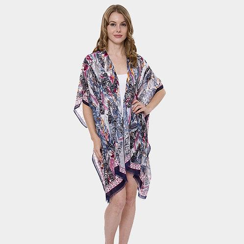 Boho Feather Pattern Open Kimono