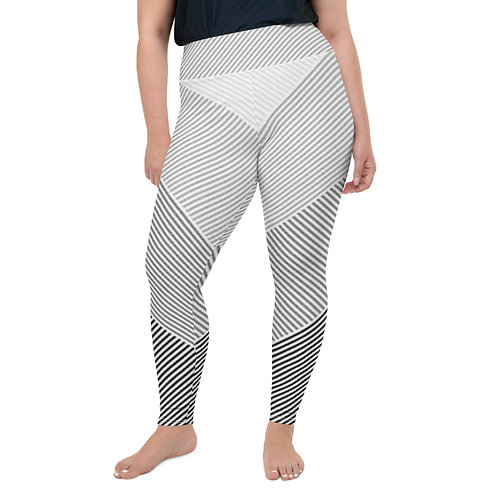 Grey Striped and Chevron Plus Size Leggings