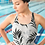 Thumbnail: Black and White Floral One-Piece Swimsuit
