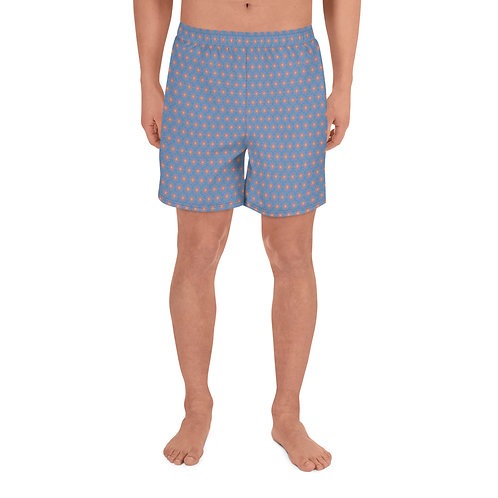 Blue with Polka Dot Men's Athletic Long Shorts