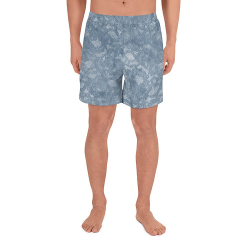 Grey Marble Men's Athletic Long Shorts
