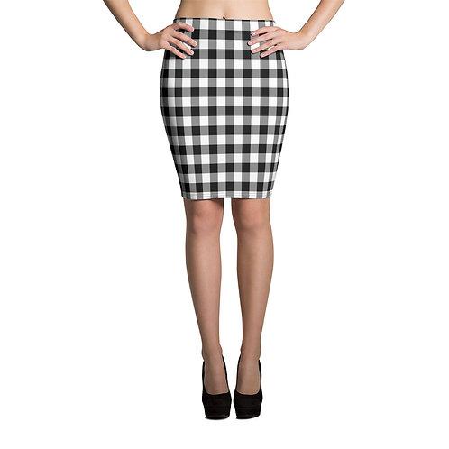 Black and White Buffalo Plaid Pencil Skirt
