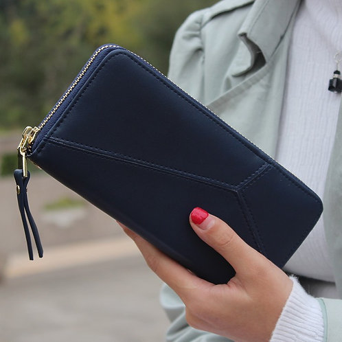 Navy Faux Leather Wallet