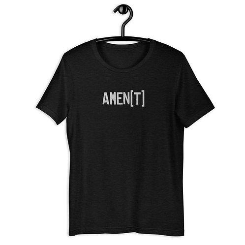 AMEN[T] in Silver Lettering Short-Sleeve T-Shirt