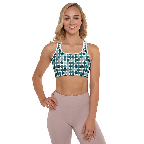 Teal Polka Dot Padded Sports Bra