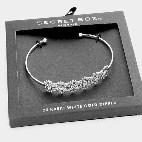 White Gold Dipped Filigree Cuff Bracelet