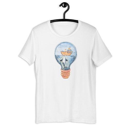 Ocean Scene Inside a Lightbulb Short-Sleeve Unisex T-Shirt