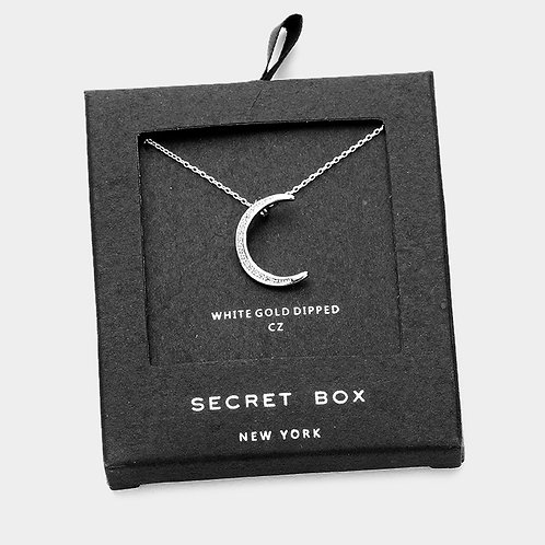 White Gold Dipped CZ Crescent Moon Necklace