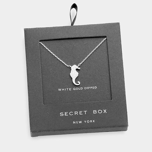 White Gold Dipped CZ Seahorse Necklace