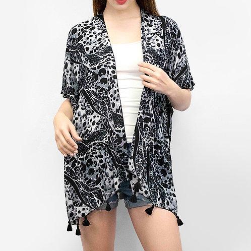 Black and White Leopard Open Kimono