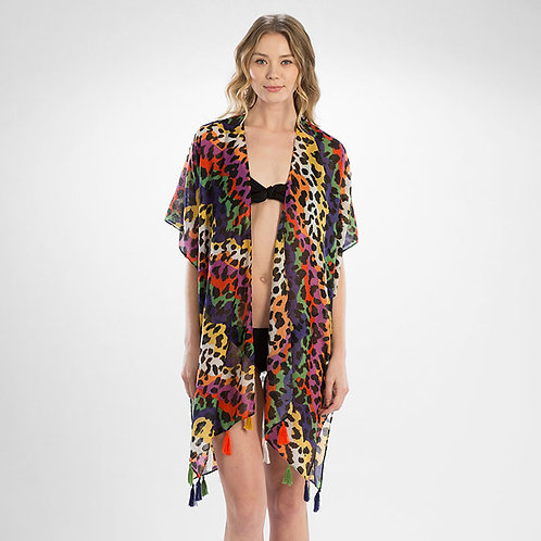 Rainbow Animal Print Open Kimono