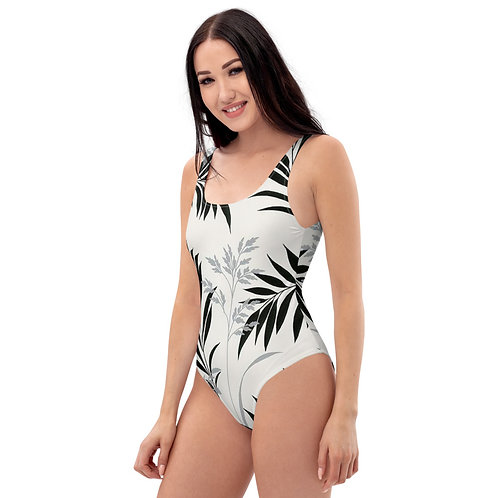 Black and White Floral One-Piece Swimsuit