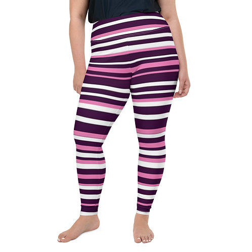 Pink Striped All-Over Print Plus Size Leggings