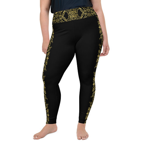 Black and Gold Lace Stripe Plus Size Leggings