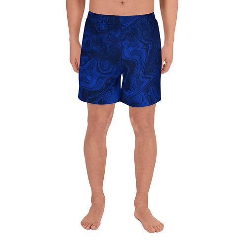 Cobalt Blue Marble Men's Athletic Long Shorts