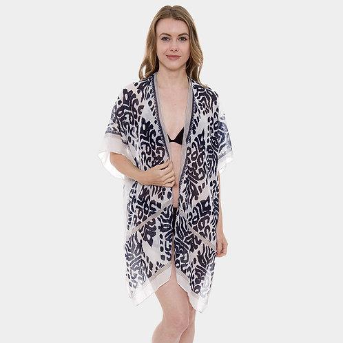 Kilim Ikat Print Open Kimono Poncho