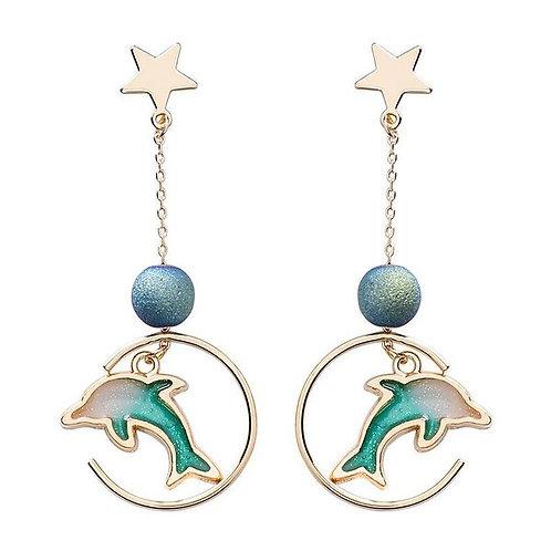 Dolphin in the Hoop Earrings