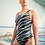 Thumbnail: Silver and Black Animal Stripe One-Piece Swimsuit