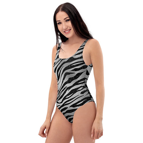 Silver and Black Animal Stripe One-Piece Swimsuit