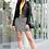 Thumbnail: Black and White Buffalo Plaid Pencil Skirt