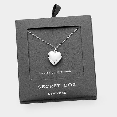 White Gold Dipped Heart Locket Necklace