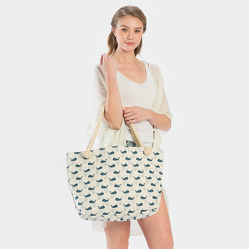Whale Print Canvas Tote Bag