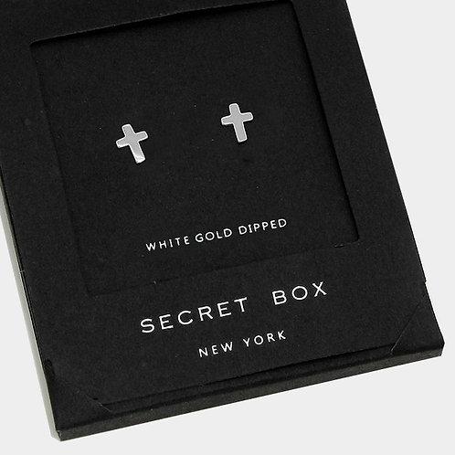 White Gold Dipped Cross Stud Earrings