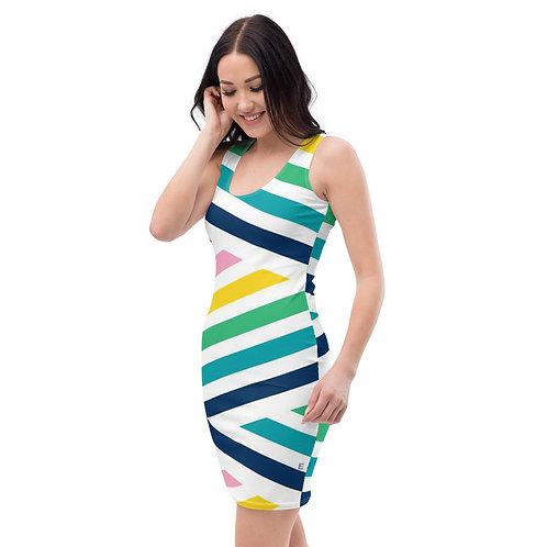 Rainbow Stripe Fitted Tank Dress