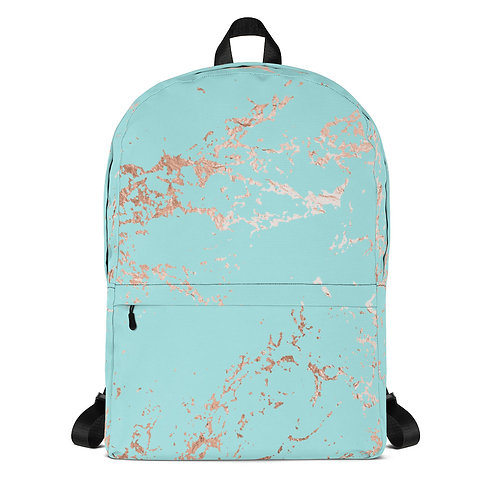 Turquoise and Metallic Marble Backpack