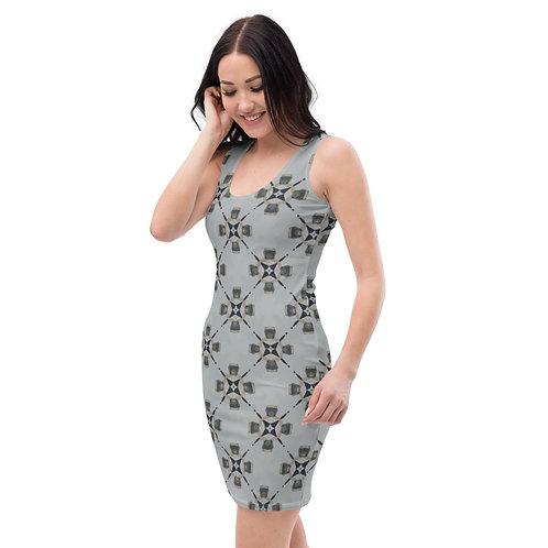 Vintage Geometric Pattern Fitted Tank Dress