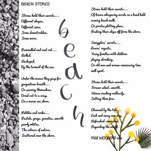 Beach Stones poetry print