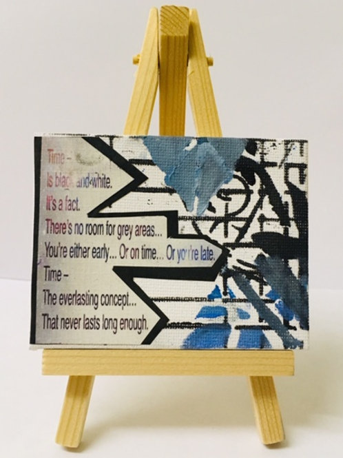 Time mini poetry art canvas on easel