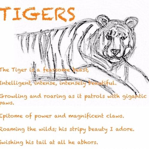 Tigers poetry print
