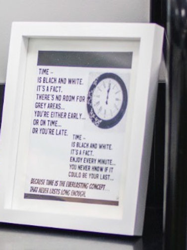 Time framed poetry print