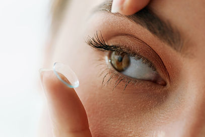 Contact Lens For Vision. Closeup Of Fema
