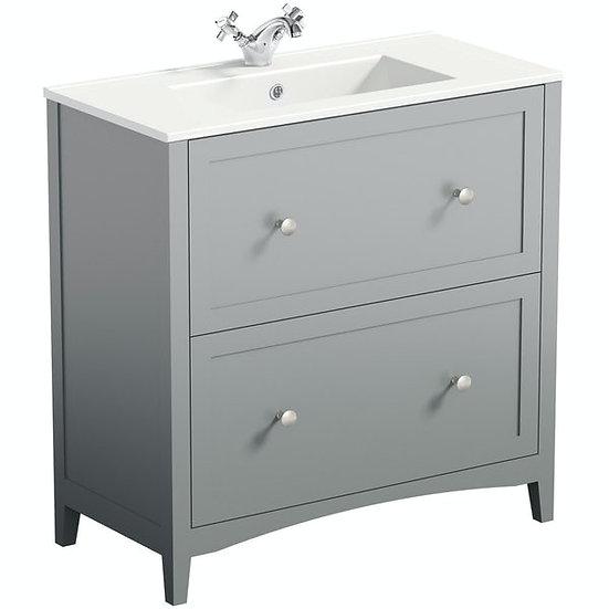 The Bath Co. Camberley satin grey floorstanding vanity unit and ceramic basin