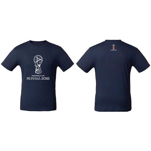 Футболка мужская (эмблема серебо) цв. темно-синий FIFA World Cup Russia 2018