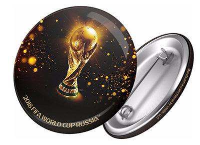 Значок 44 мм  Кубок мира - трофей FIFA World Cup Russia 2018