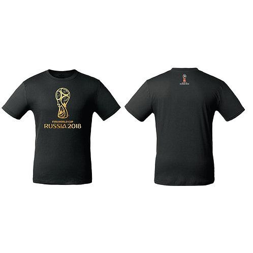 Футболка мужская (эмблема золотая) цв. черный FIFA World Cup Russia 2018
