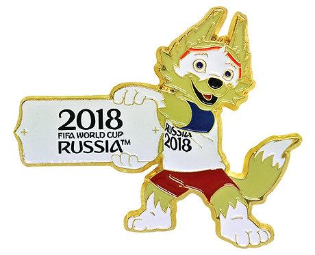 Значок (PIN) 4 см эмаль Забивака с табличкой FIFA World Cup Russia 2018