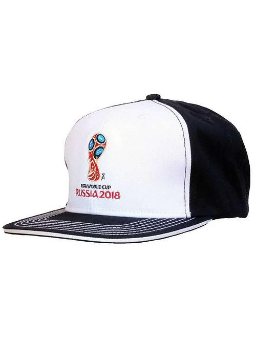 Бейсболка «Эмблема»(рэп) цв. чёрный с белым FIFA World Cup Russia 2018