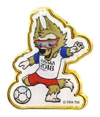 Значок (PIN) 3 см Забивака с мячом FIFA World Cup Russia 2018