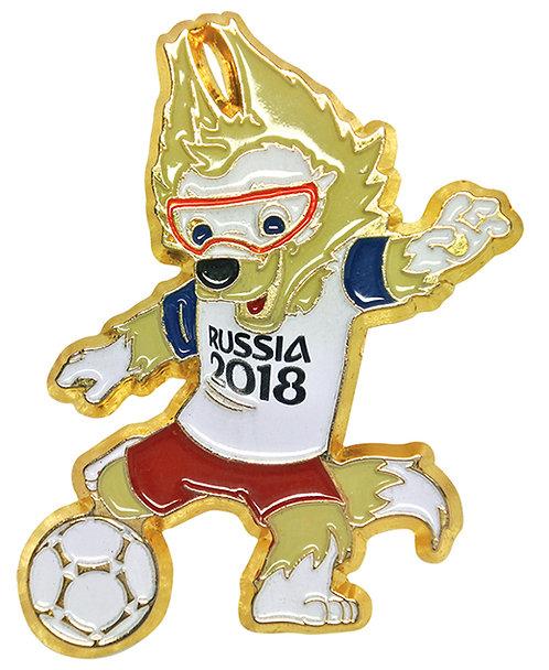 Значок (PIN) 4 см эмаль Забивака с мячом FIFA World Cup Russia 2018