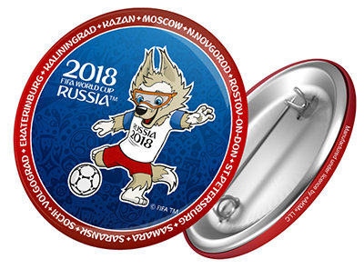 "Значок 44 мм ""Забивака с мячом""  FIFA World Cup 2018"