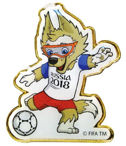 Значок (PIN) 4 см Забивака с мячом FIFA World Cup Russia 2018