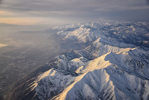 Aerial view from airplane of the Wasatch